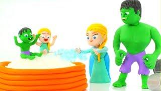 Superhero Babies Play At The Pool w/ Hulk & Frozen Elsa ❤ Play Doh Cartoons & Stop Motion Videos