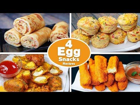 4 Easy Egg Snacks Recipes | Crepe Egg Roll | Easy Egg Muffin | Egg Pakora | Egg Fingers | Toasted