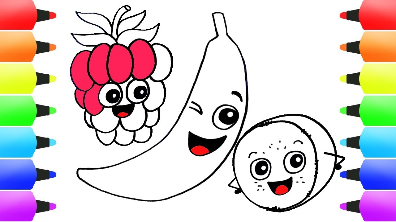 Fruit Drawing For Kids How To Draw Banana Step By Step Easy Coloring
