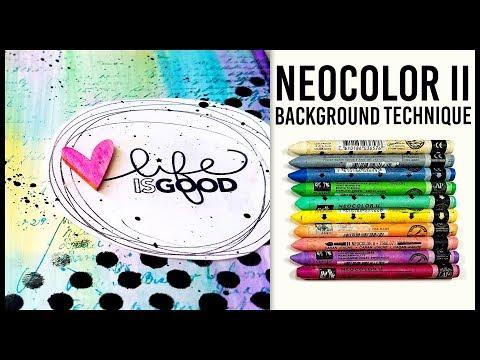 Art Journal Technique: Creamy Neocolor II Background | EASY! |  Mixed Media Art Journal With Me