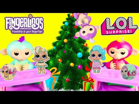FINGERLINGS Monkey Mia Opens Santa Christmas LOL Surprise Dolls and Huge Lego Playdoh Egg