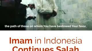 Имам в Индонезии продолжает молитву во время землетрясения!!!