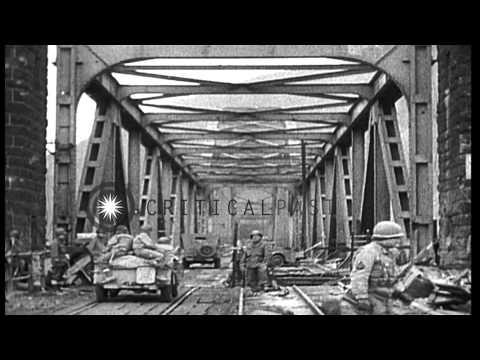 US troops capture and defend the Ludendorff  Bridge over the Rhine River in Remag...HD Stock Footage