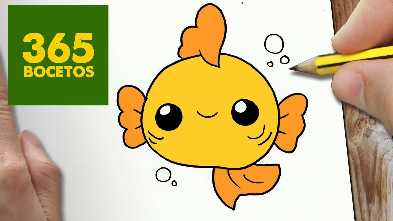 como dibujar pez kawaii paso a paso dibujos kawaii