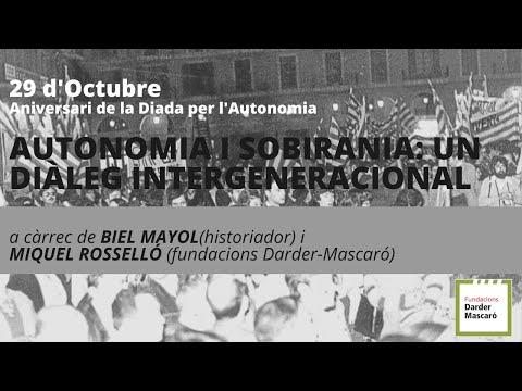 29 d'octubre: Autonomia i sobirania, un diàleg intergeneracional