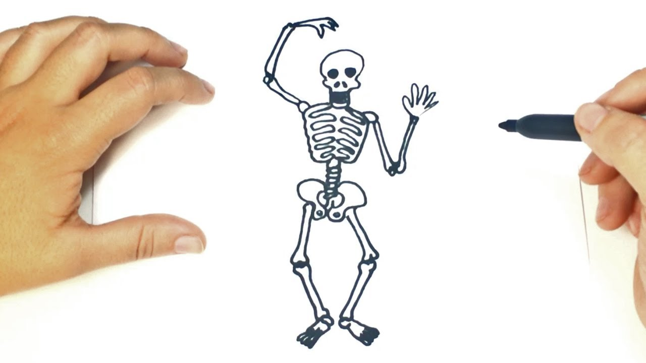 Cómo dibujar un Esqueleto paso a paso | Dibujo fácil de Esqueleto ...