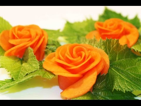 Vegetable decorations. Carrot rose.