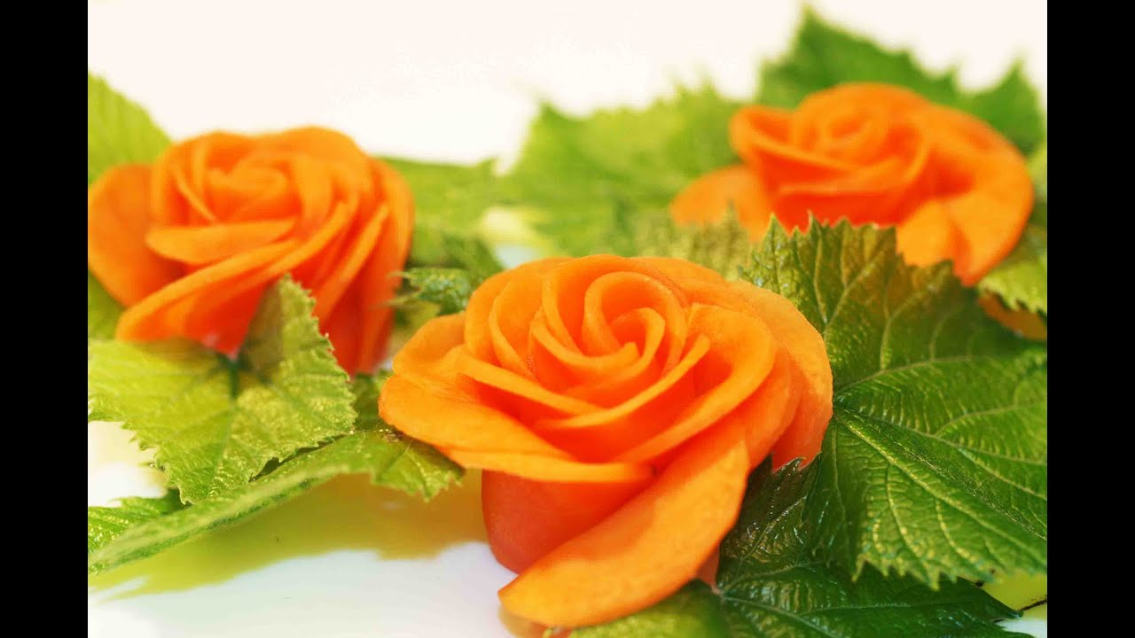 Vegetable decorations CARROT ROSE Food Decoration - YouTube
