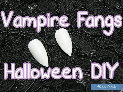 【Halloween DIY】 How To Make Easy Vampire Fangs ★! (Sub Español)