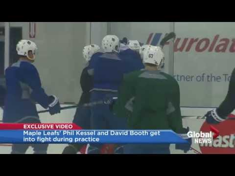 Maple Leafs' Phil Kessel and David Booth get into fight during practice.