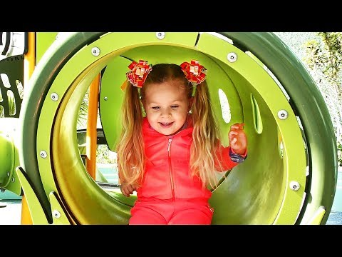 Little girl Diana have fun playing on the Outdoor playground, Kids video & Baby songs