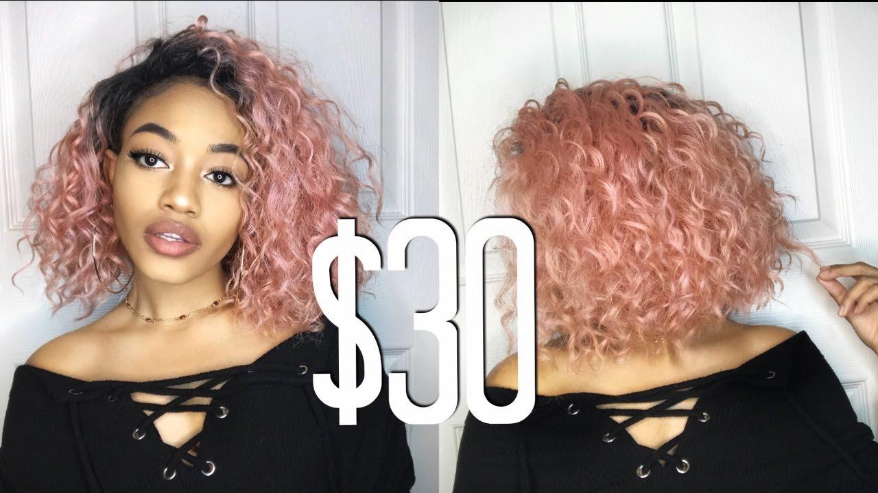 affordable wavy rose gold bob wig