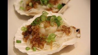 Steam scallops with garlic and rice noodle 粉丝蒜茸蒸扇贝