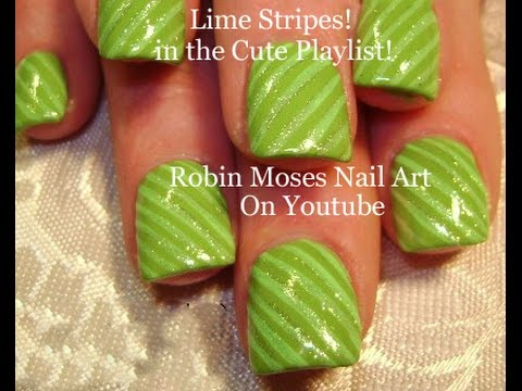 Nail Art Easy Lime Green Stripe Nails For Beginners Short Nail