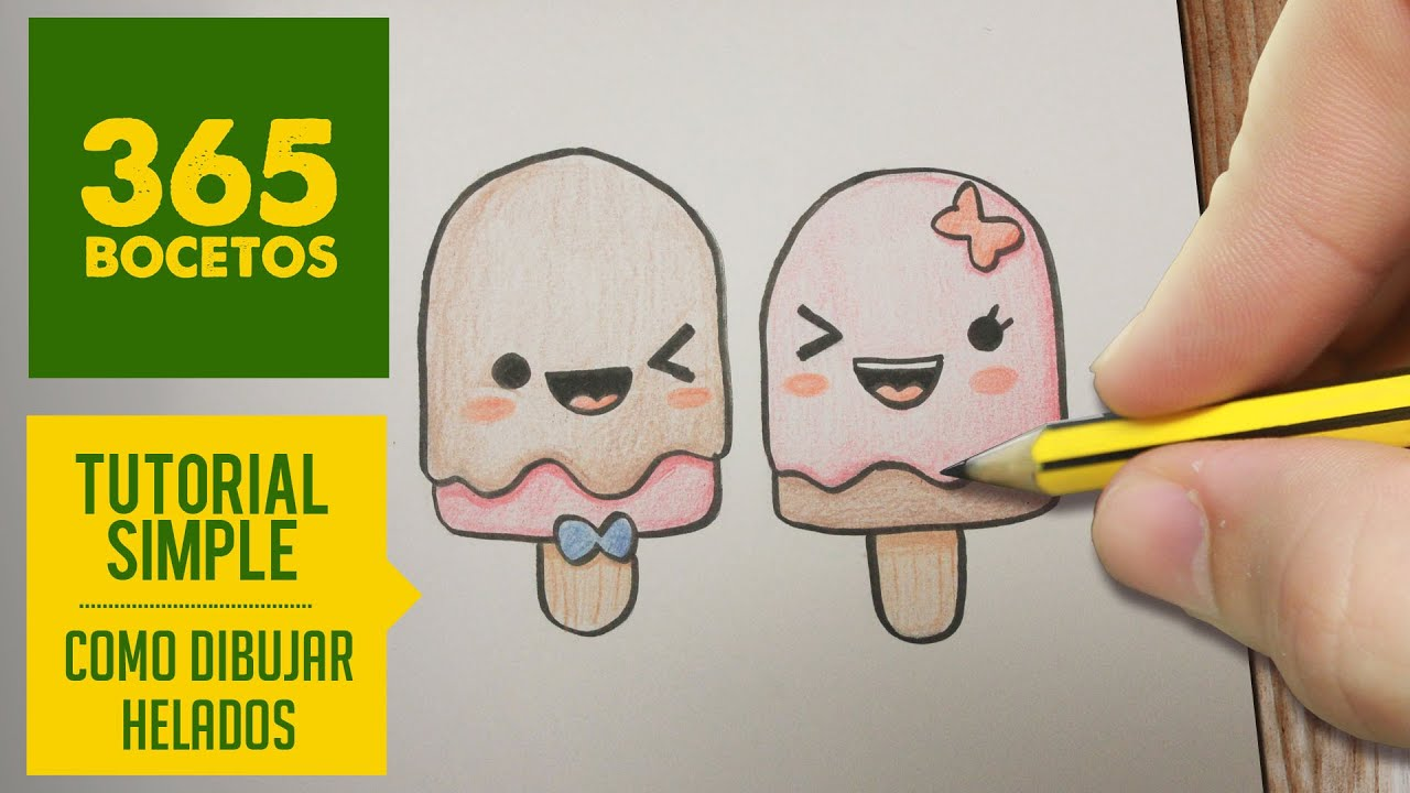 Como Dibujar Paletas Heladas Kawaii Paso A Paso Dibujos Kawaii Faciles How To Draw An Ice Cream