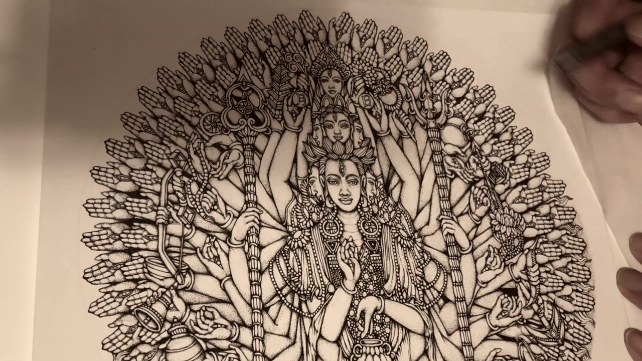 Download Adult Coloring Pages-Ink Pen Drawing-Bodhisattva Avalokiteshvara of Compassion Arms-Kent Chua Art