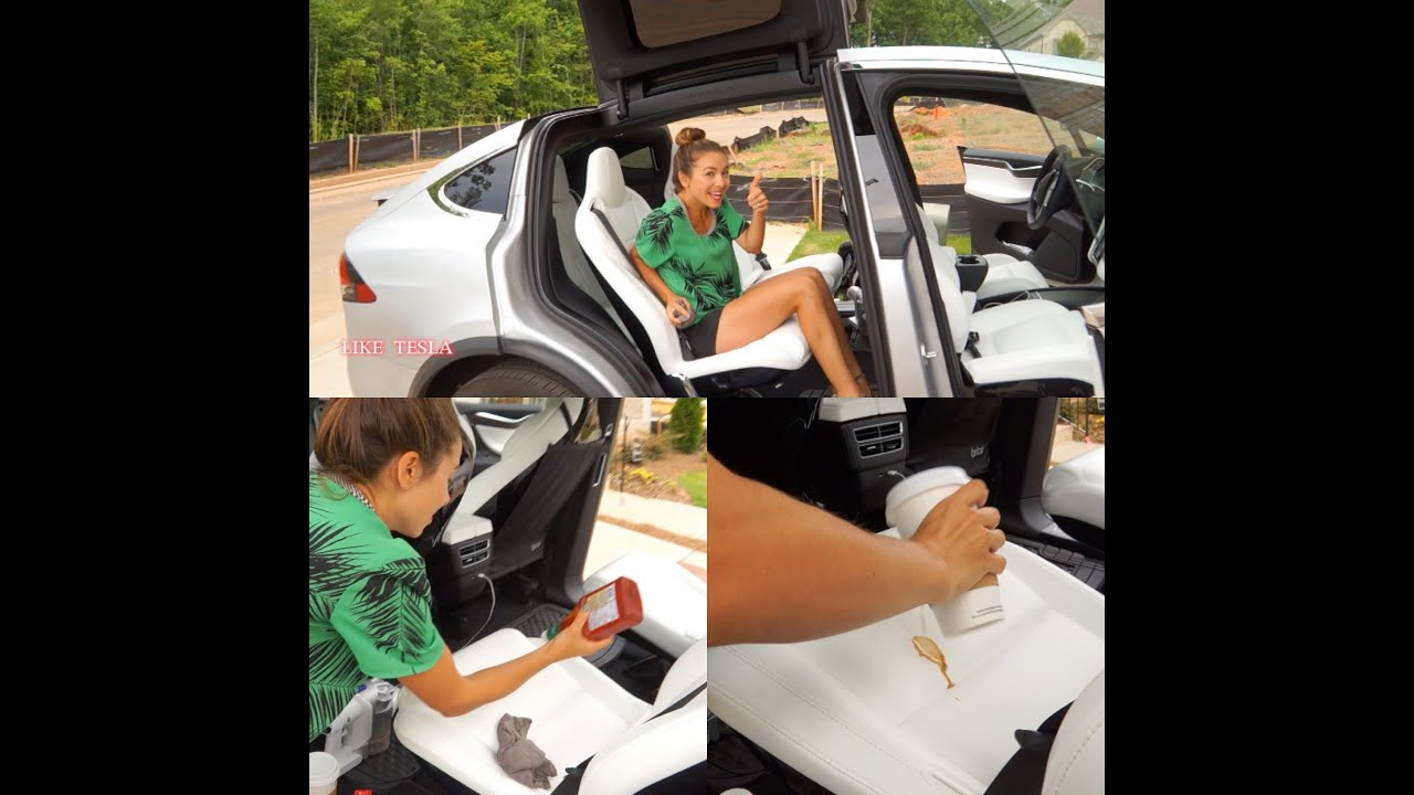 Model X White Seats Tested With Coffee Ketchup More Youtube