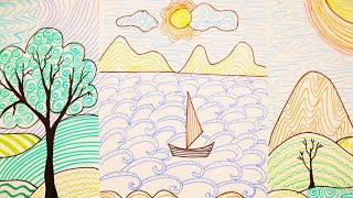 Урок рисования ПЕЙЗАЖЕЙ ЛИНИЯМИ ⛵ / Техника рисования прямыми, волнистыми и прерывистыми линиями