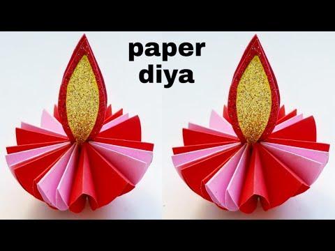 Diy How to make Paper Diya / Easy Diwali Decoration ideas / Diwali Diya Decoration at home