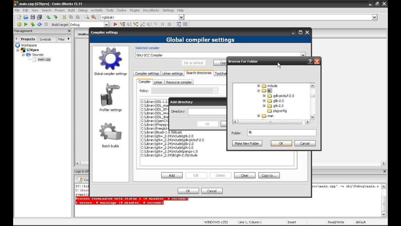 How to install GTK+2 24 on Code::Blocks & windows
