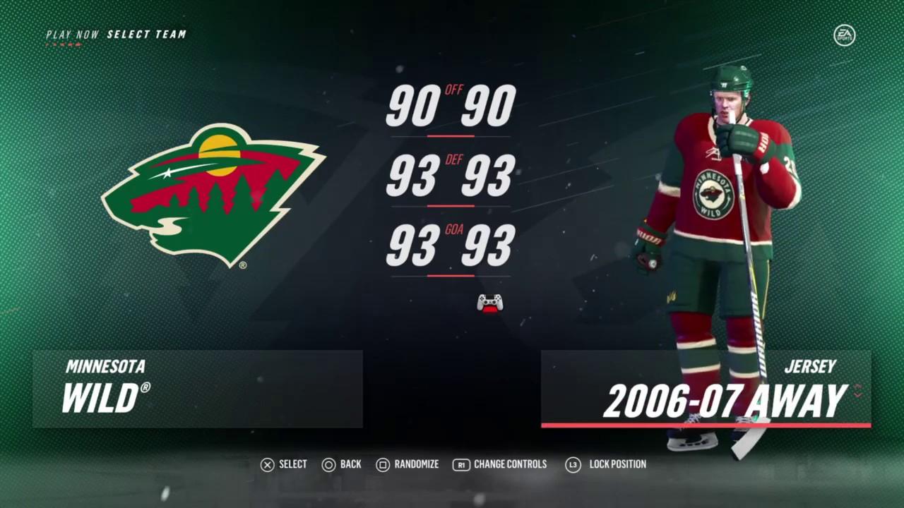 sports shoes 86cc6 3c82b NHL 19 - Minnesota Wild Uniforms - All Franchise History Uniforms & All  Teams Rating