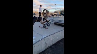 Poor Boy Flips Off His Bmx Doing A Trick On A Ramo