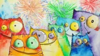 Футаж   «Happy Birthday to you»  - Коты поздравляют с днём рождения