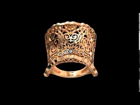 Кольцо Кружево и страсть с бриллиантами из золота красного цвета 585 пробы