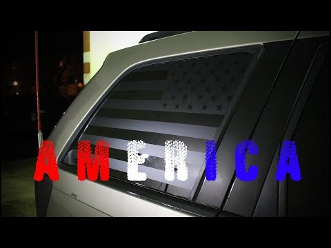 American Flag Window Decal Installation