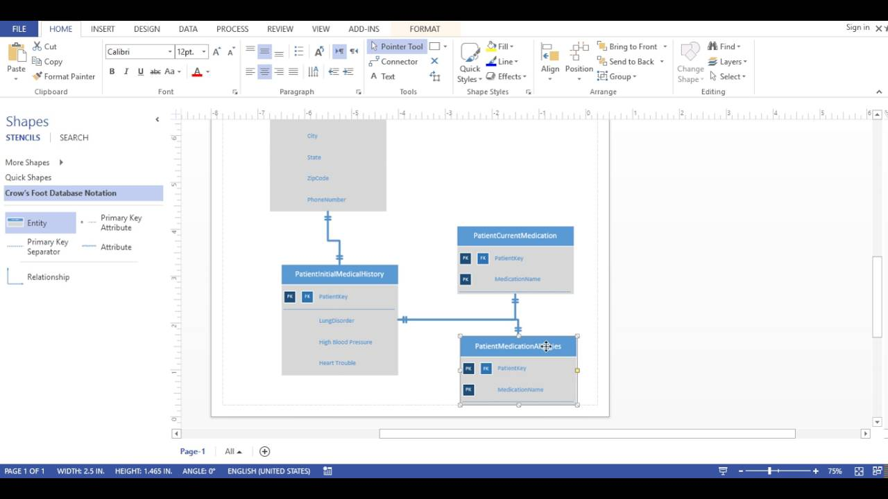 Visio 2013 Database Diagram Crows Foot Notation Youtube