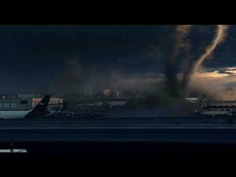 """The Day After Tomorrow News Reporter: """"If you look over behind me, that's a tornado. Yes! A twister in Los Angeles. It's one of many tornadoes that are destroying our city. There's another..."""