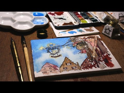 ROTHENBURG STREET SIGN | Watercolour TIMELAPSE | Aquarellina