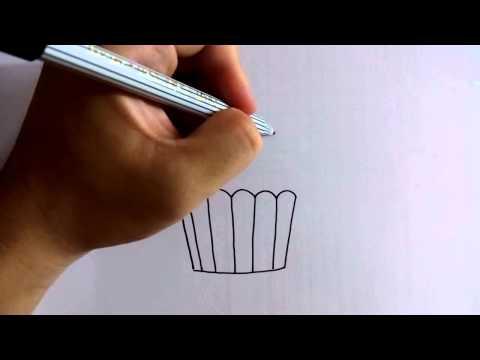 สอนวาดรูปการ์ตูน คัพเค้ก อย่างง่ายๆ โดย วาดการ์ตูนกันเถอะ