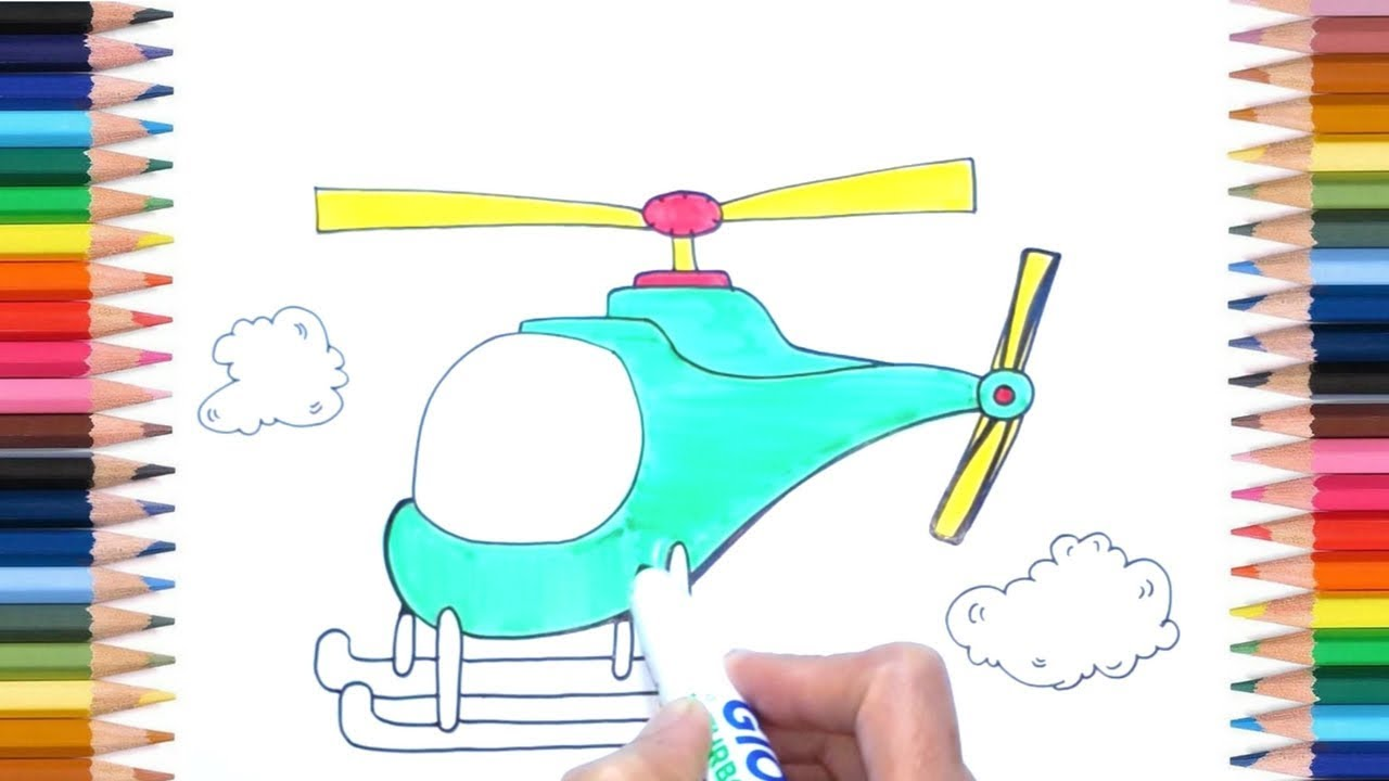 How to Draw Helicopter in Easy Way for Kids : Cute Kids ...