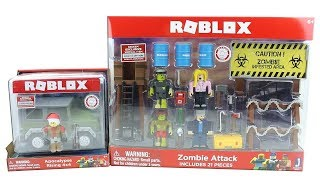 Roblox Series 2 Toys Zombie Attack and Apocalypse Rising 4x4 Pack Unboxing Toy Review
