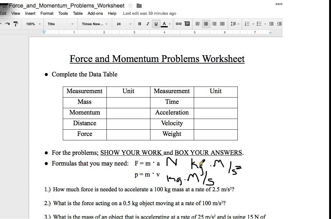 Force and Momentum Worksheet - YouTube
