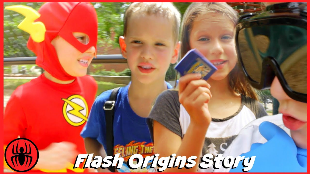 Download The Flash Origins Story w Playground Bully & Doctor Clariss real life movie comics SuperHero Kids