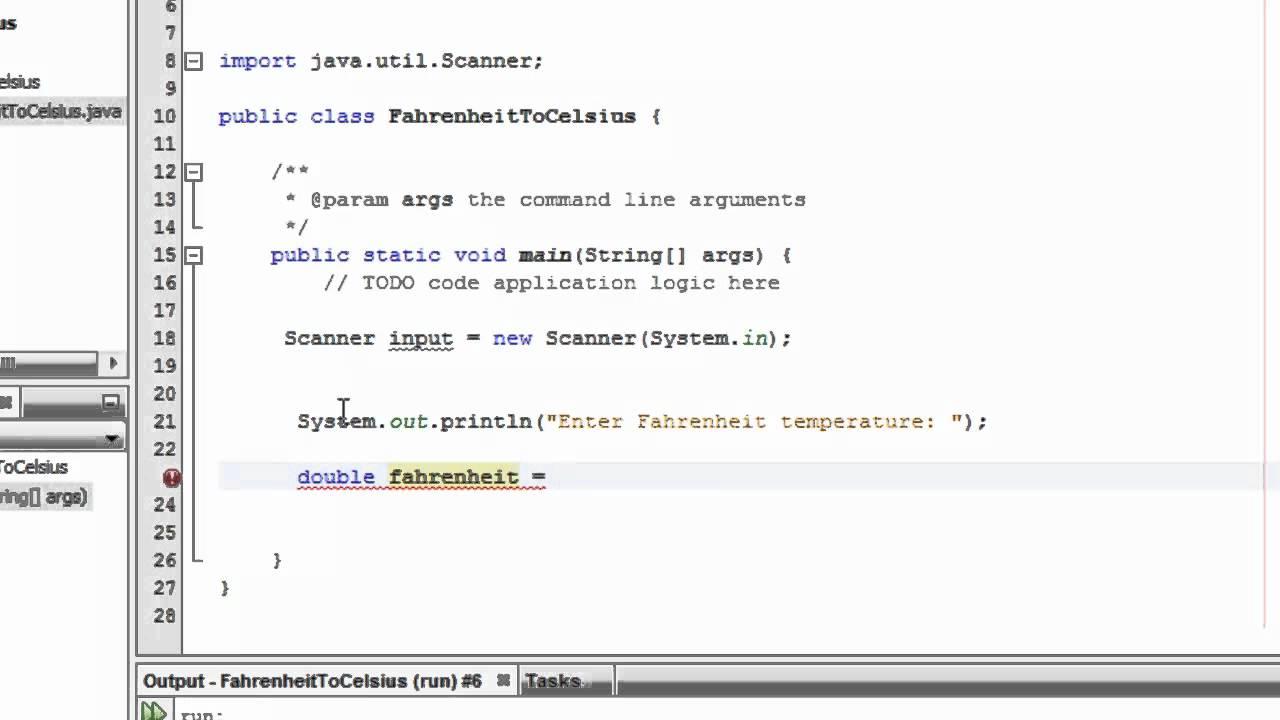 Java Fahrenhiet To Celsius Lesson 9