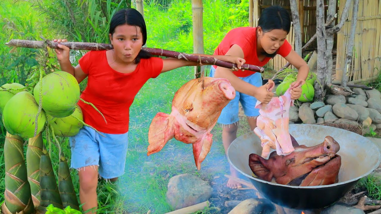 Awesome Women picking Pig's head and coconut - Cooking soup Pig's head with coconut for dog