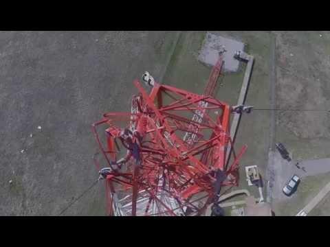 Tornado damage to legendary KOMA tower array.