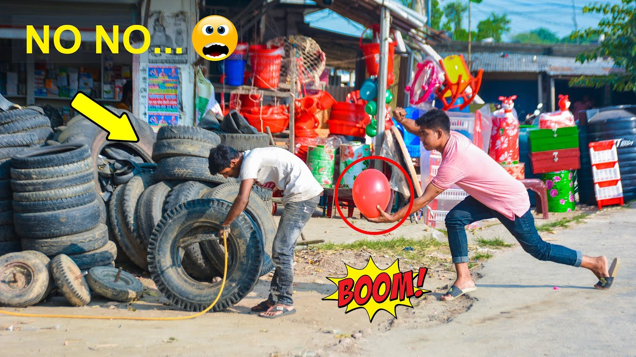 Tyre Blast Prank with Popping Balloons | Watch The REACTION with Popping Balloons Prank! (Part 9)