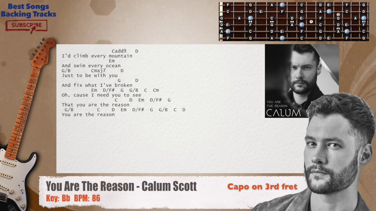 You Are The Reason Calum Scott Guitar Capo Backing Track With