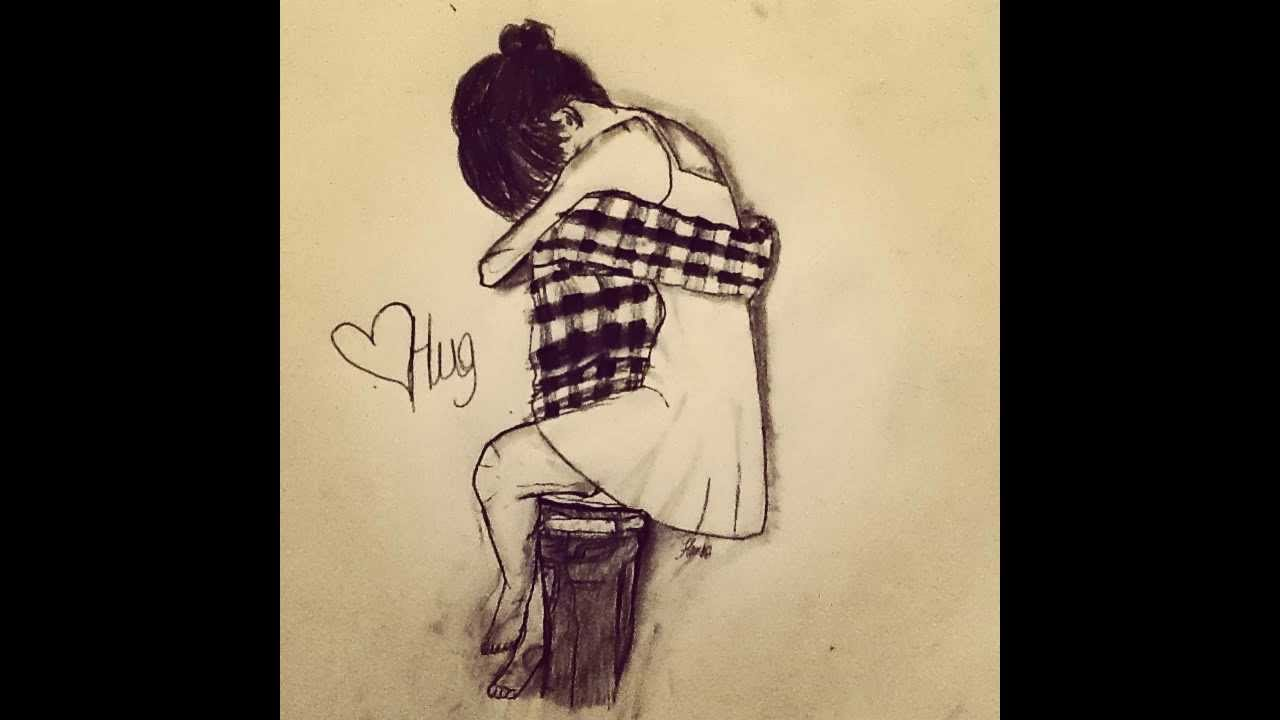 Couple hugging drawing
