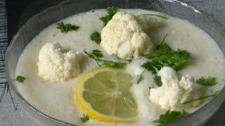 Сыроедческий крем суп из цветной капусты с кервелем
