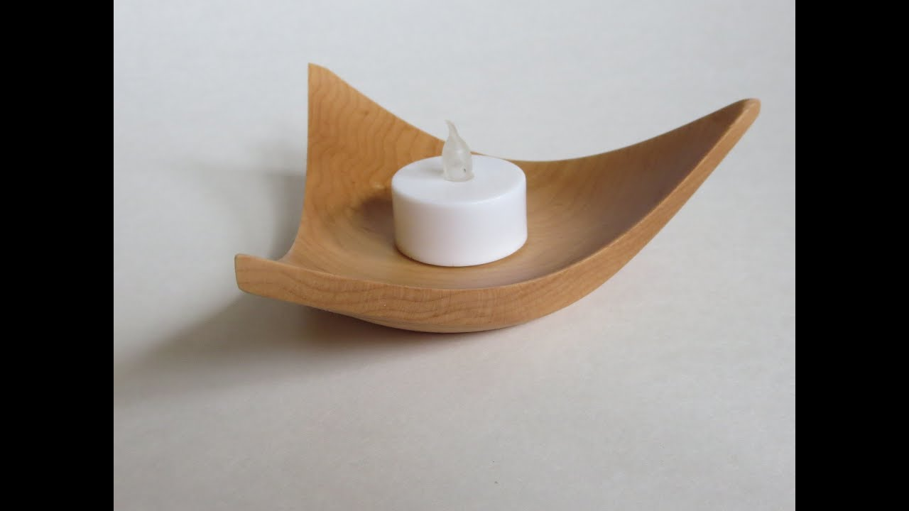 wood turning candle holders Wood Turning 1 Triangle Winged Tealight Holder