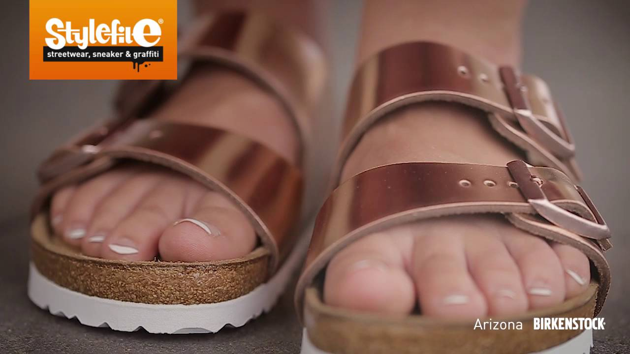 8690e3e97c1 Birkenstock Arizona Women Sandals metallic copper (On-Feet ...