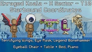 Starbound Coordinates [X][T10]: Terrifying Wings, Eye Mask, Eye Chair, Table, Bed, Bonehammer, Piano