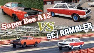 1969 AMC Hurst SC/Rambler vs 1969 Dodge Super Bee A12 - PURE STOCK DRAG RACE + history/specs