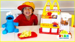 Ryan Pretend Play With McDonalds Toys And Cook Toys Food