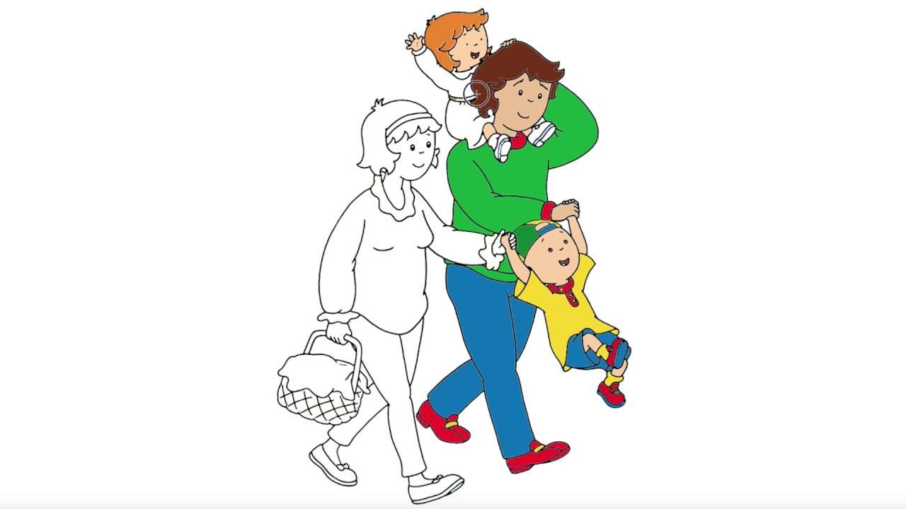 Caillou | Parte 3 | Pintando Caillou y su familia | Juego de Pintar ...